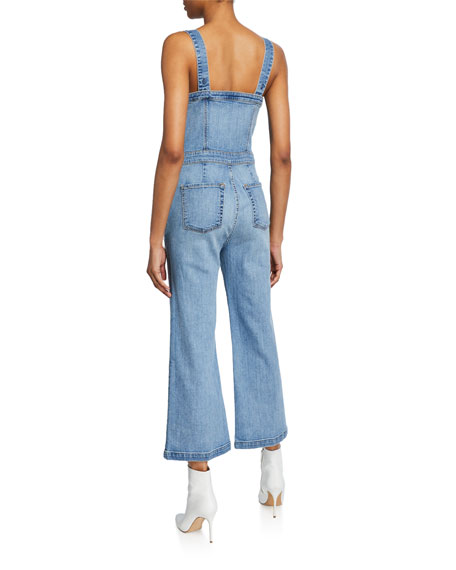 7 For All Mankind Sweetheart Cropped Denim Corset Tank Playsuit