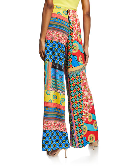 Alice + Olivia Athena Mixed-Print Wide-Leg Pants