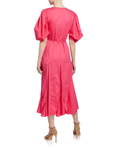 Rhode Fiona Puff-Sleeve Godet Long Wrap Dress