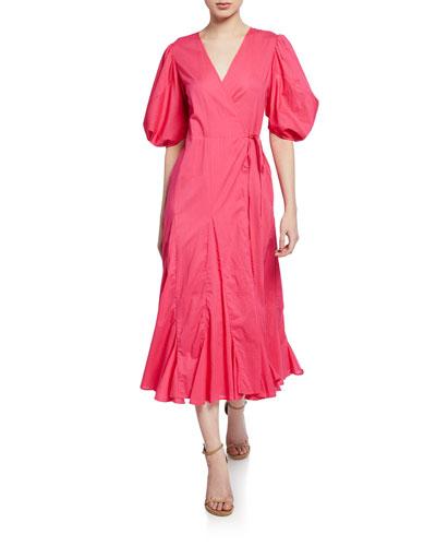 Fiona Puff-Sleeve Godet Long Wrap Dress