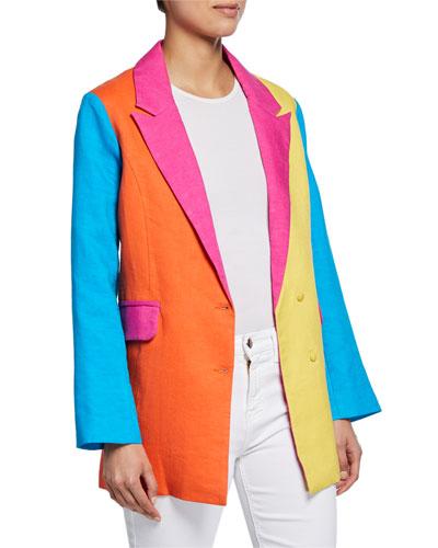 Iris Colorblock Two-Button Linen Blazer