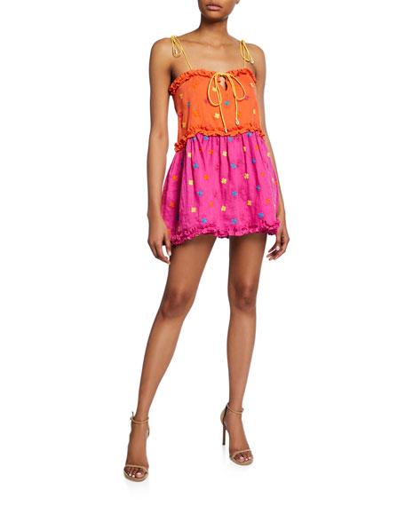 All Things Mochi Nia Tiered Linen Ruffle Mini Dress