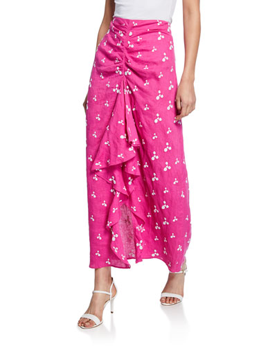 Ola Gathered Linen Ruffle Skirt