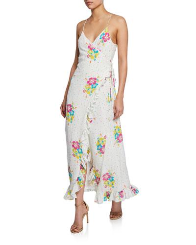 Melani Floral-Print Ruffle Wrap Dress