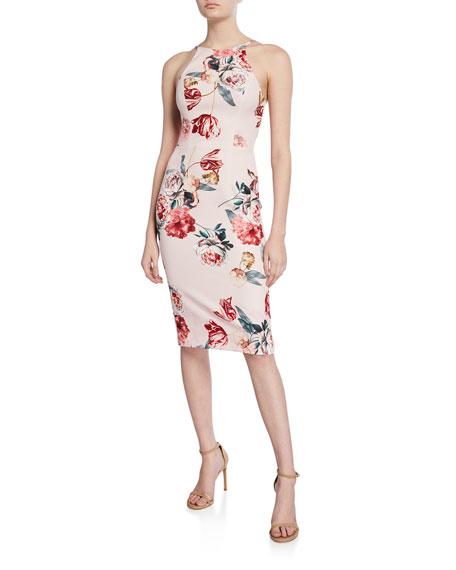 Black Halo Montego Floral-Print Halter Dress