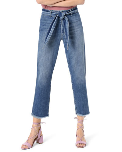 The Jane Crop Straight Jeans with Belt