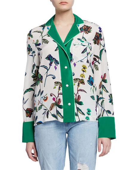 Derek Lam 10 Crosby Floral-Print Button-Front Long-Sleeve Silk Pajama Shirt
