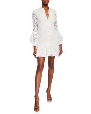 6369f940bb3f Alexis Liliyan Balloon-Sleeve Mini Crochet Dress