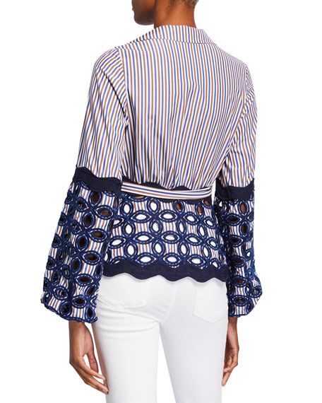 Alexis Myrna Striped Embroidered Tie Top