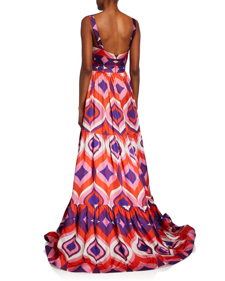 Alexis Jourdan Geo-Print Sleeveless A-Line Dress