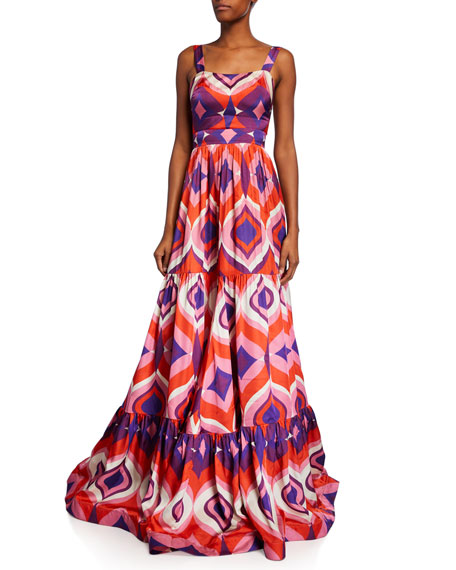 Alexis Jourdan Geo-Print Sleeveless A-Line Dress