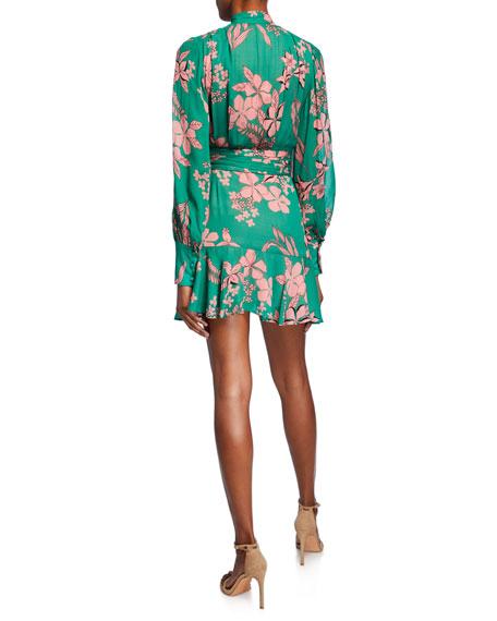 Alexis Tisdale High-Neck Floral Button-Front Dress