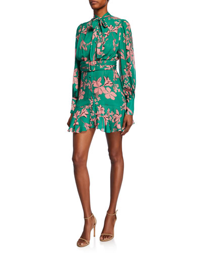 Tisdale High-Neck Floral Button-Front Dress