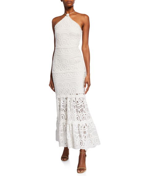 Alexis Yvonna Crocheted Halter Dress