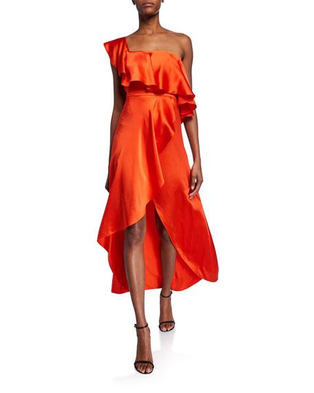 Alexis Austyn One-Shoulder Silk Dress