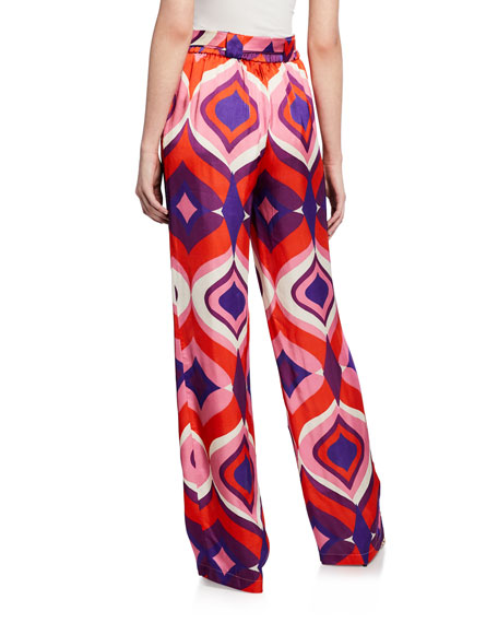 Alexis Kwan Geometric Wide-Leg Pants w/ Belt