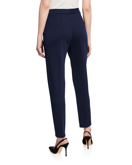 St. John Collection Milano Knit Slim Ankle Pants with Pockets