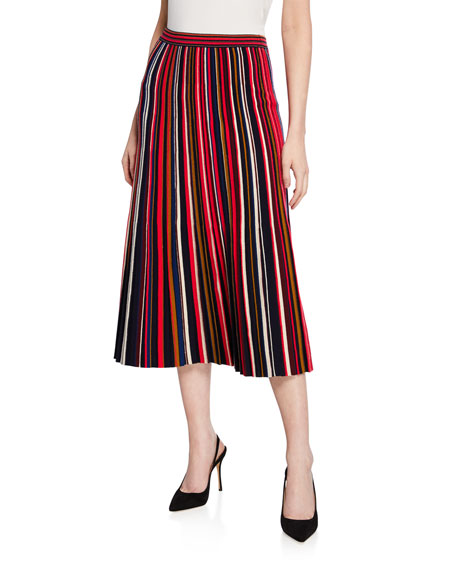 St. John Collection Multicolored Fine Gauge Knit Plisse Skirt