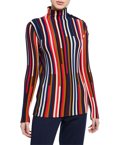 St. John Collection Multicolor Fine Gauge Mock-Neck Sweater w/ Shoulder Placket