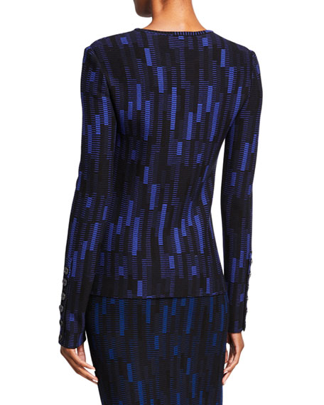 St. John Collection Stretch Mosaic Jacquard Crewneck Top w/-Sleeve Button Detail