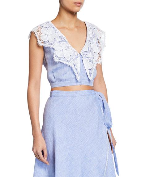Miguelina Rosalie Sleeveless Linen Crop Top w/ Lace Trim