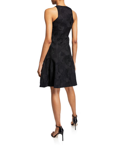 Image 2 of 2: Halston Sleeveless High-Neck Tulip Fit-&-Flare Jacquard Dress