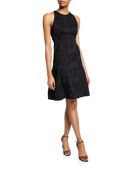Image 1 of 2: Halston Sleeveless High-Neck Tulip Fit-&-Flare Jacquard Dress