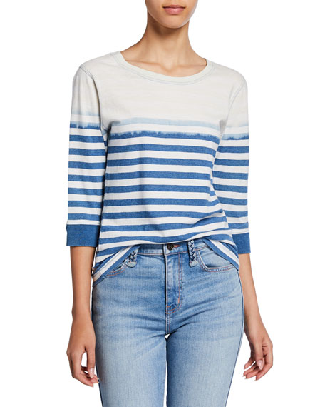 Current/Elliott The Poolboy Striped 3/4-Sleeve Cotton Top