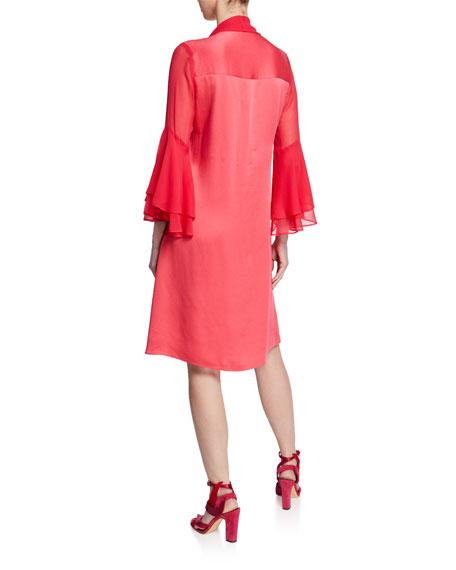 Rickie Freeman for Teri Jon V-Neck Trumpet-Sleeve Satin Dress with Chiffon Sash