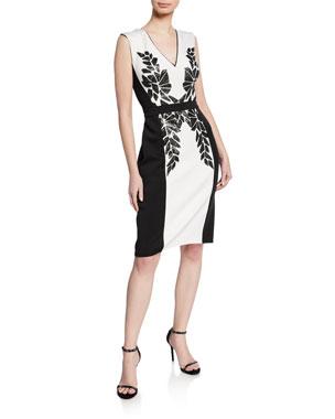 f22f4ca2019 ... Gown with Crepe Skirt.  390 · Tadashi Shoji Colorblock V-Neck  Sleeveless Neoprene Dress w  Sequin Detail