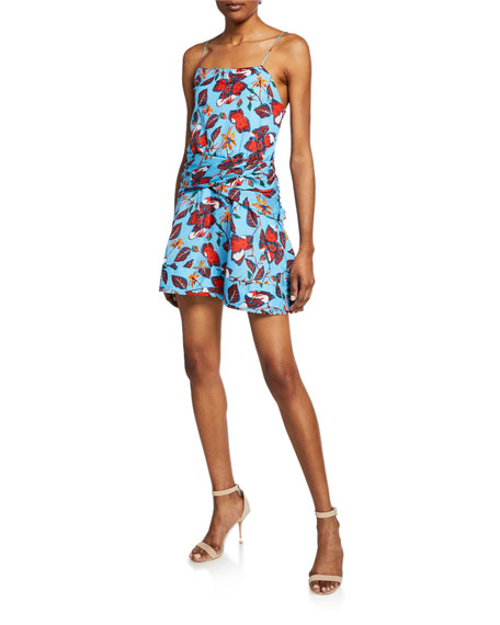 Derek Lam 10 Crosby Floral-Print Mini Cami Flounce Dress with Twist-Waist Detail