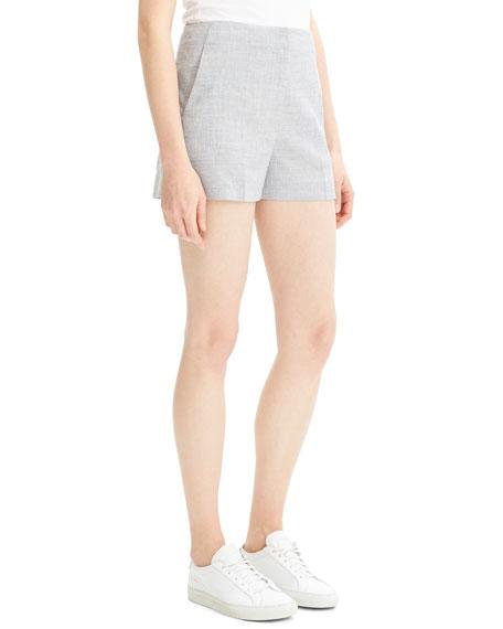 Theory Mini Eco Sharkskin Linen Shorts