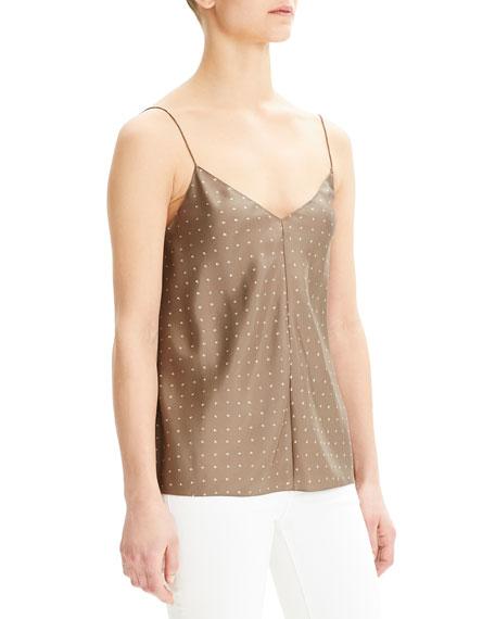 Theory Dot Overlay V-Neck Silk Camisole