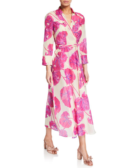Diane von Furstenberg Collared Leaf-Print Long Wrap Dress