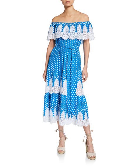 Miguelina Liselle Dragonfly Embroidered Off-Shoulder Dress