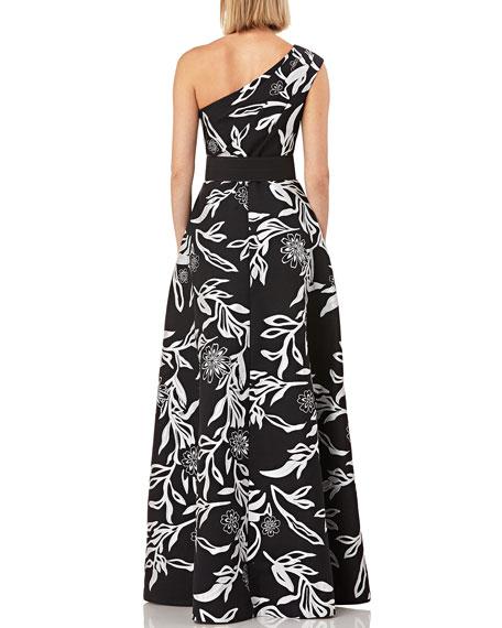 Kay Unger New York Printed One-Shoulder Sleeveless Jacquard Gown w/ Pockets & Novelty Belt