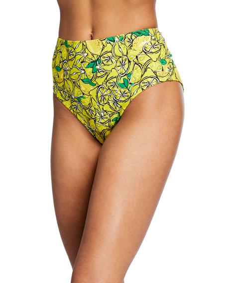 Diane von Furstenberg Kiana Lemon-Print High-Waist Bikini Bottom