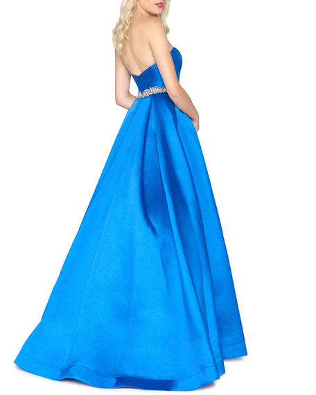 Image 2 of 2: Mac Duggal Strapless Bejeweled-Waist Satin Ball Gown