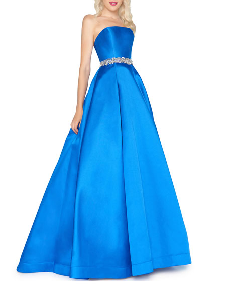 Image 1 of 2: Mac Duggal Strapless Bejeweled-Waist Satin Ball Gown