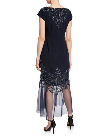 Image 2 of 2: Aidan Mattox Beaded Cap-Sleeve Mermaid Cocktail Dress w/ Illusion Hem