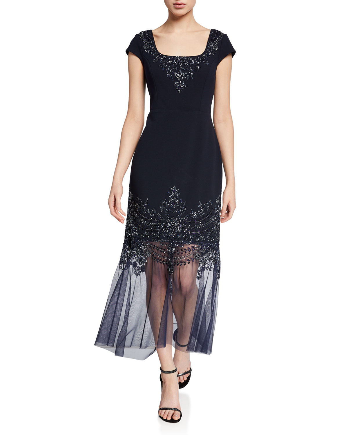 Aidan Mattox Beaded Cap-Sleeve Mermaid Cocktail Dress w/ Illusion Hem
