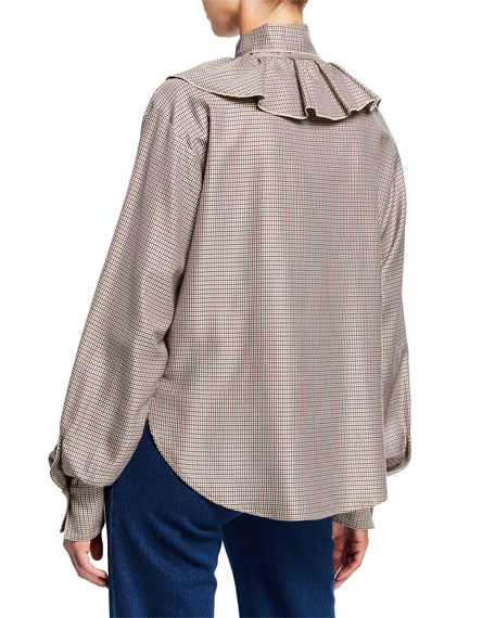 See by Chloe Tie-Neck Ruffle Check Long-Sleeve Blouse
