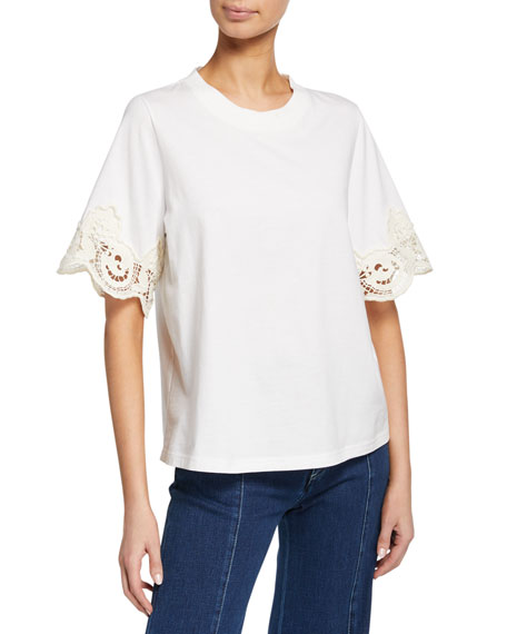 See by Chloe Lace-Trim Crewneck Tee