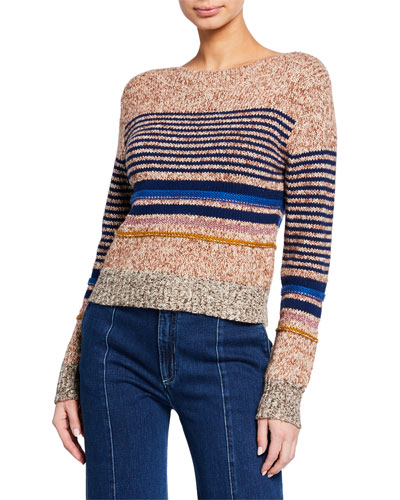 Striped Wool-Blend Crewneck Sweater