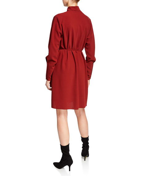 See by Chloe Tie-Neck Long-Sleeve Dress