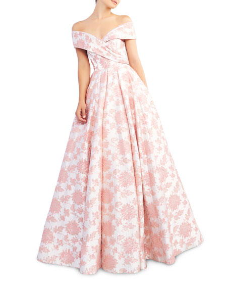 Ieena for Mac Duggal Floral-Print Draped Off-The-Shoulder Short-Sleeve Ball Gown