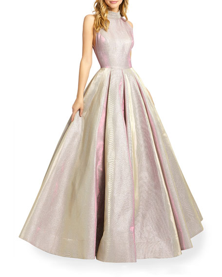Ieena for Mac Duggal High-Neck Sleeveless Metallic Ball Gown with Beaded Collar