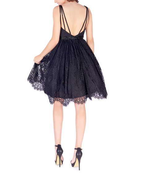 Mac Duggal Sweetheart Strappy-Back Fit-&-Flare Lace Dress w/ Pockets
