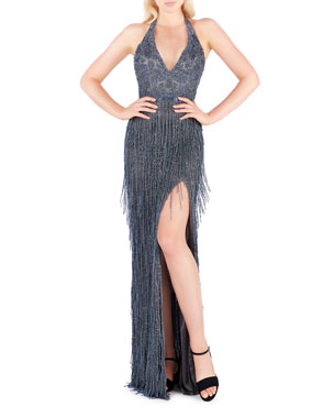c866b71ba9f Mac Duggal Beaded Fringe Halter Gown with Thigh-Slit