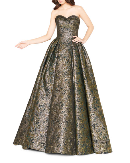 Mac Duggal Metallic Brocade Pleated Strapless Ball Gown with Pockets